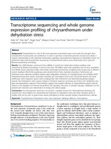 Transcriptome sequencing and whole genome expression profiling of chrysanthemum under dehydration stress