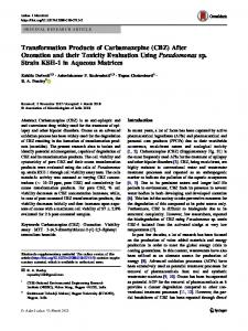 Transformation Products of Carbamazepine (CBZ) After Ozonation and their Toxicity Evaluation Using Pseudomonas sp. Strain KSH-1 in Aqueous Matrices