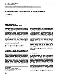 Transforming Our Thinking about Transitional Forms