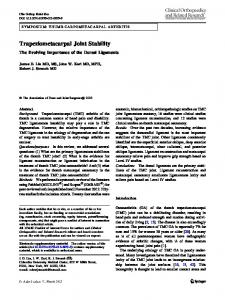 Trapeziometacarpal Joint Stability: The Evolving Importance of the Dorsal Ligaments
