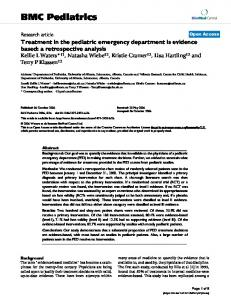 Treatment in the pediatric emergency department is evidence based: a retrospective analysis