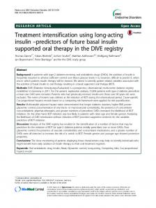 Treatment intensification using long-acting insulin –predictors of future basal insulin supported oral therapy in the DIVE registry