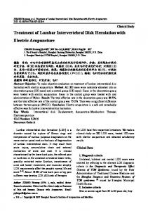 Treatment of lumbar intervertebral disk herniation with electric acupuncture