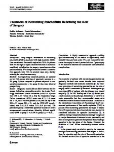 Treatment of Necrotizing Pancreatitis: Redefining the Role of Surgery