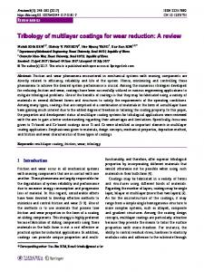 Tribology of multilayer coatings for wear reduction: A review