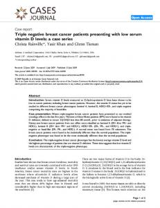 Triple negative breast cancer patients presenting with low serum vitamin D levels: a case series