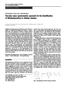 Two-step mass spectrometric approach for the identification of diketopiperazines in chicken essence