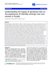 Understanding the impact of gendered roles on the experiences of infertility amongst men and women in Punjab