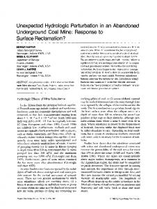 Unexpected hydrologic perturbation in an abandoned underground coal mine: Response to surface reclamation?
