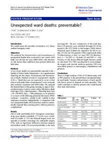 Unexpected ward deaths: preventable?