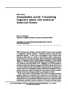 Unspeakable words: Translating linguistic taboo into medieval historical fiction