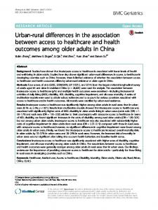 Urban-rural differences in the association between access to healthcare and health outcomes among older adults in China