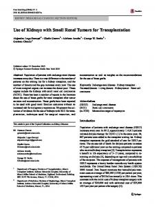 Use of Kidneys with Small Renal Tumors for Transplantation