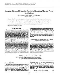 Using the theory of hydraulic circuits in simulating thermal power installations