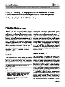 Utility of Coronary CT Angiography in the Assessment of Acute Chest Pain in the Emergency Department: Current Perspectives