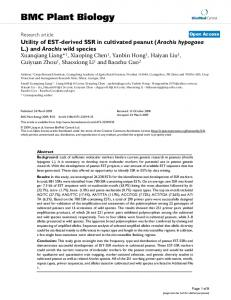 Utility of EST-derived SSR in cultivated peanut (Arachis hypogaea L.) and Arachiswild species
