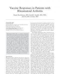 Vaccine responses in patients with rheumatoid arthritis
