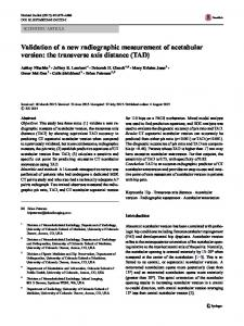 Validation of a new radiographic measurement of acetabular version: the transverse axis distance (TAD)