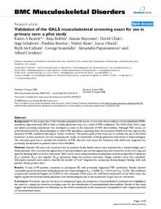 Validation of the GALS musculoskeletal screening exam for use in primary care: a pilot study