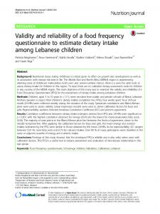 Validity and reliability of a food frequency questionnaire to estimate dietary intake among Lebanese children