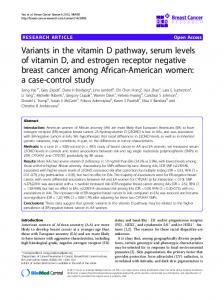 Variants in the vitamin D pathway, serum levels of vitamin D, and estrogen receptor negative breast cancer among African-American women: a case-control study