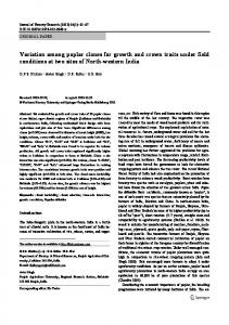 Variation among poplar clones for growth and crown traits under field conditions at two sites of North-western India