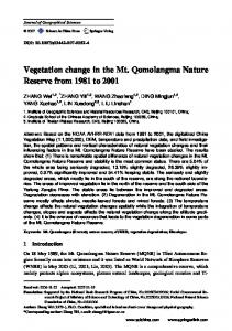 Vegetation change in the Mt. Qomolangma Nature Reserve from 1981 to 2001