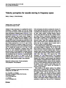Velocity perception for sounds moving in frequency space