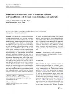 Vertical distribution and pools of microbial residues in tropical forest soils formed from distinct parent materials