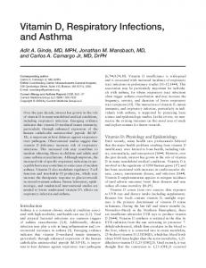 Vitamin D, respiratory infections, and asthma