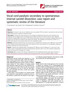 Vocal cord paralysis secondary to spontaneous internal carotid dissection: case report and systematic review of the literature