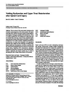 Voiding Dysfunction and Upper Tract Deterioration after Spinal Cord Injury