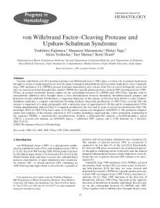 von Willebrand Factor—Cleaving Protease and Upshaw-Schulman Syndrome