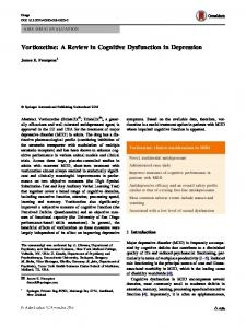 Vortioxetine: A Review in Cognitive Dysfunction in Depression