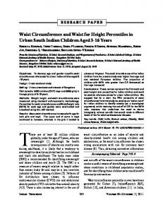 Waist circumference and waist for height percentiles in urban South Indian children aged 3–16 years
