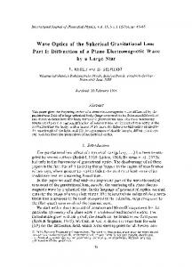 Wave optics of the spherical gravitational lens part I: Diffraction of a plane electromagnetic wave by a large star