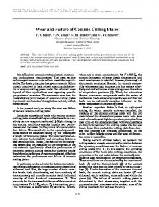Wear and failure of ceramic cutting plates