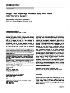 Weight Loss Reporting: Predicted Body Mass Index After Bariatric Surgery