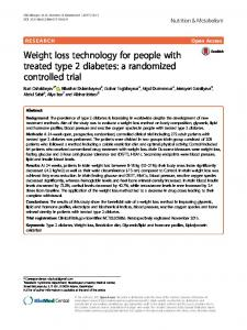 Weight loss technology for people with treated type 2 diabetes: a randomized controlled trial