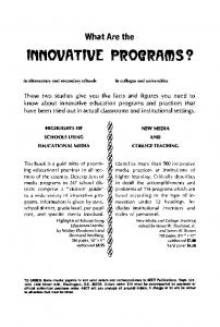 What are the Innovative programs?