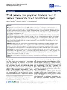 What primary care physician teachers need to sustain community based education in Japan