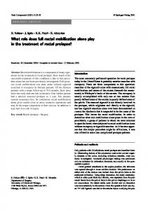 What role does full rectal mobilization alone play in the treatment of rectal prolapse?