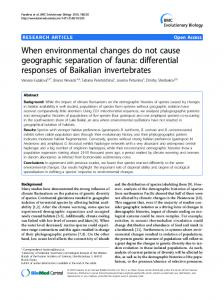 When environmental changes do not cause geographic separation of fauna: differential responses of Baikalian invertebrates