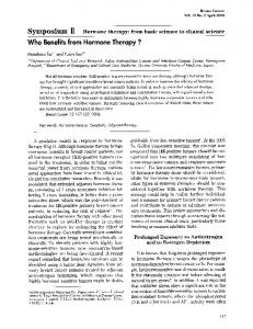 Who benefits from hormone therapy?