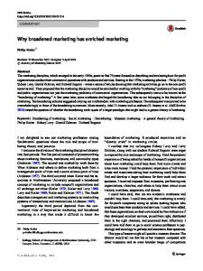 Why broadened marketing has enriched marketing