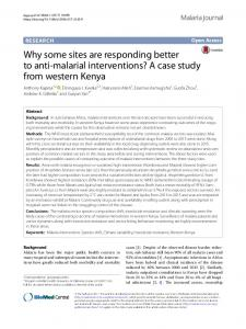 Why some sites are responding better to anti-malarial interventions? A case study from western Kenya