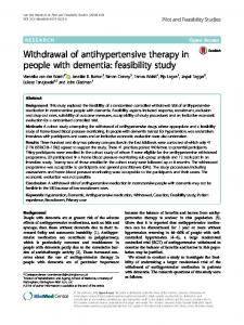 Withdrawal of antihypertensive therapy in people with dementia: feasibility study