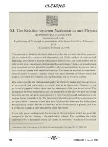 XI. The relation between mathematics and physics