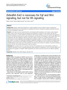 Zebrafish Ext2 is necessary for Fgf and Wnt signaling, but not for Hh signaling