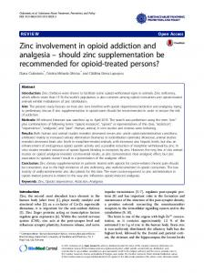 Zinc involvement in opioid addiction and analgesia – should zinc supplementation be recommended for opioid-treated persons?